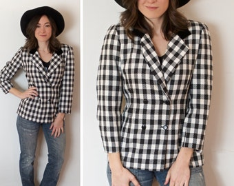 SALE! Vintage Gingham Blazer Small Black and White