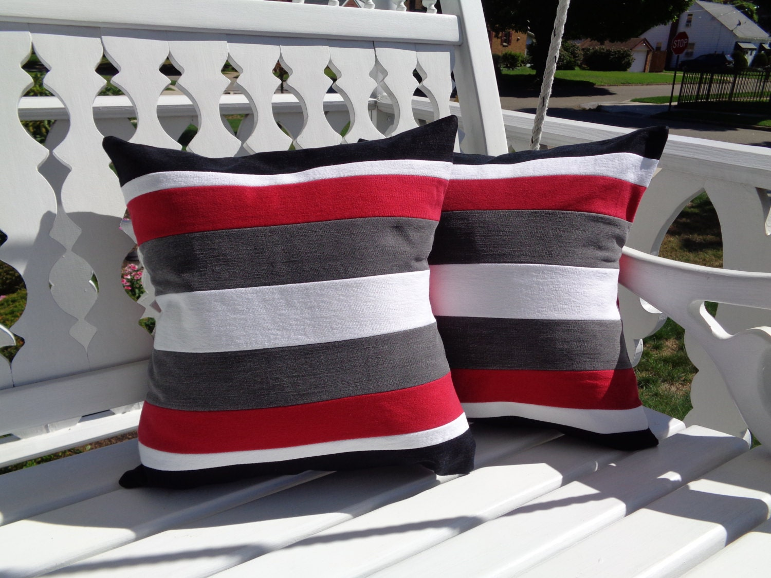 Red Gray Black & White Striped Pillow Cover Accent Pillow