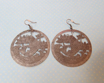 Vintage Koi Lotus Boho Disc Hoop Earrings