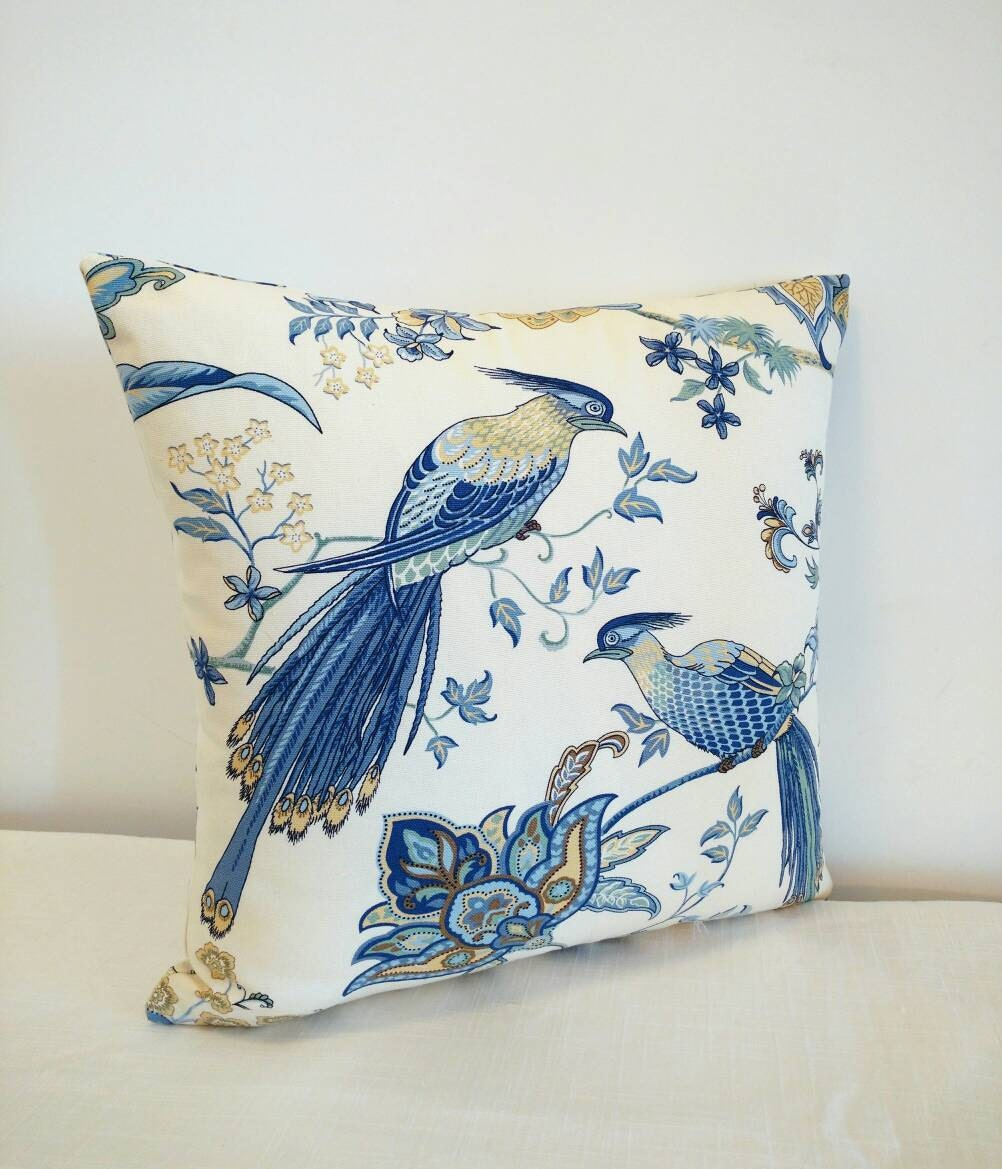 Throw Pillows With Birds : Blue bird pillow cover tropical bird throw pillow shades of