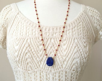 Lapis Lazuli Pendant Necklace, Red Jade Rosary style Necklace