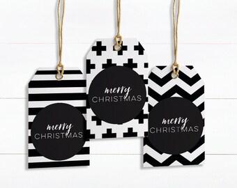 Christmas Tags Printable, Christmas Printable, Christmas tags, Monochrome Gift Tag, printable gift tags, digital download