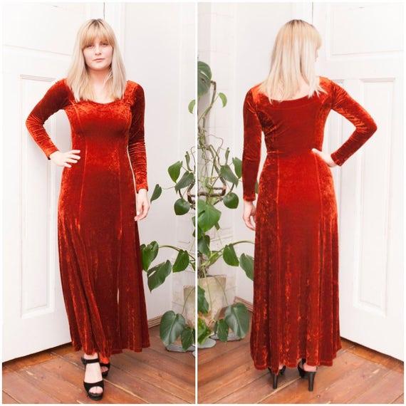 90s Burnt Orange Velvet Maxi Dress Floor Length Slitted Rust