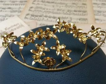 Vintage golden wedding crown, 70s German Myrtle, Boho headpiece, rustic wedding, hair accessories, hair wreath, bridal tiara,