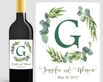 Wedding WINE BOTTLE LABEL, Custom Wine Labels Wedding, Wedding Wine Labels, Custom Wine Labels, Reception Decorations, Greenery Wedding