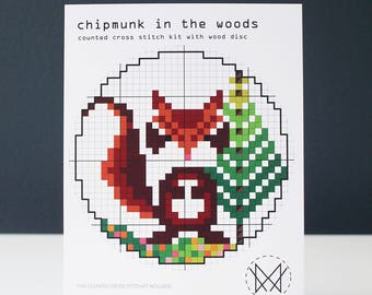 Chipmunk in the Woods - Easy Cross Stitch Kit - Wood Disk Cross stitch Kit -