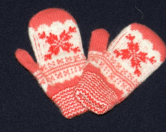 Christmas in July, wool gloves, Mittens from angora wool, warm Mittens , knitted Mittens , children's mittens, wool mittens