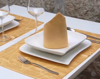 Luxury Gold Table Placemat - Anti Stain Proof Resistant - Pack of 2 units - Ref. Lines