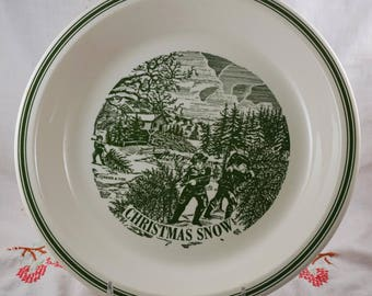 Green Transferware Christmas Snow Vintage Currier and Ives Pie Plate Pan
