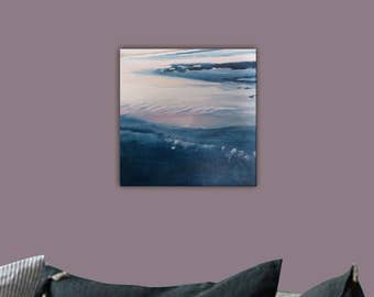 The beach. Original painting, oil painting, blue painting, grey painting