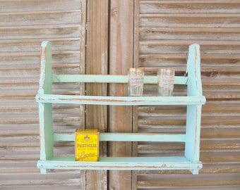 Spice rack Shabby Chic vintage wooden shelf turquoise