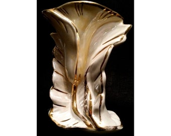 SALE Art Nouveau Lily Vase, Vintage, Easter Decor, Spring Flower Vase, Pearly Cream and Gold Ceramics