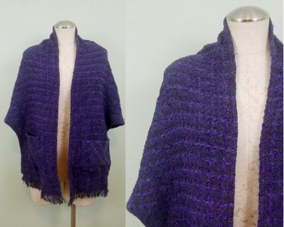 1970s-1980s Purple and Green Shawl / Purple and Green Oversized Scarf with Pockets / Windowpane Knit, Fringe Trim / Open Front Poncho