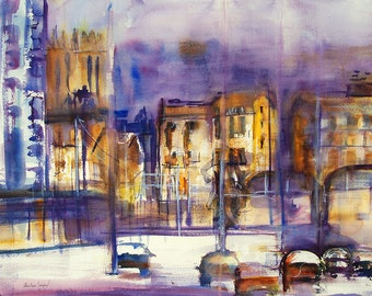 Original watercolor of an urban French landscape, original painting of a city in France, watercolor with houses and cars