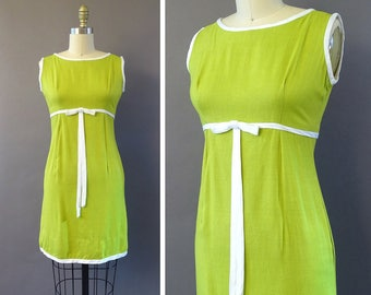 60s When Life Gives You Limes Dress - 1960s Vintage Shift Dress - Sleeveless Green Dress w Empire Waist and White Bow - Lime Green Mod Dress