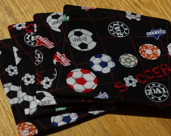 Soccer Fabric Coasters, Set of 4, Sports Coasters, Reversible, Soccer Balls and Soccer Sayings, Everyday Coasters, Drink Mats, Black and Red