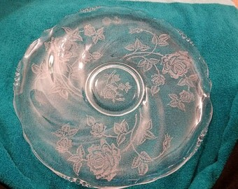 13.5 inch glass platter Heisey rose