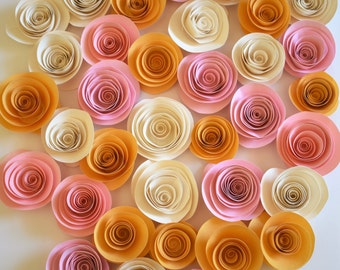 Blush Pink, Ivory and Gold Table Decor, Paper Roses, Wedding Decor, Paper Flowers