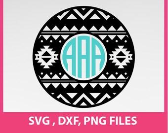 Aztec Circle monogram frames, SVG, DXF, PNG Formats 0017
