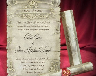 Scroll Wedding Invitation Personalized Unique Invitations Medieval Style