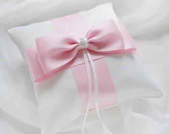 Satin Wedding Pillow with brooch, Satin Wedding Ring Bearer Pillow, mint Ring Pillow, pink Ring Pillow