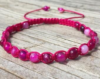 Pink Agate Bead Bracelet, Pink Agate Beaded Anklet, Macrame Friendship Bracelet, Beaded Bracelet, Boho Bracelet, Gift for Her, Small Gift