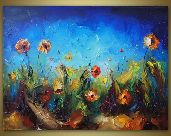 Landscape Painting, Oil Painting, Flowers Oil Painting, Original Art, Canvas Wall Art, Contemporary Art, Oil Painting Abstract, Floral Art