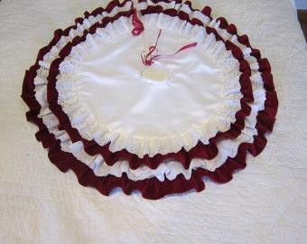 Ruffle tree skirt velvet satin tree skirt red and white tree skirt christmas tree skirt velvet and lace tree skirt satin and lace tree skirt