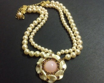 Vintage multi-strand necklace with faux pearls and rhinestones