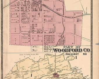 1877 Map of Southern Woodford County Kentucky
