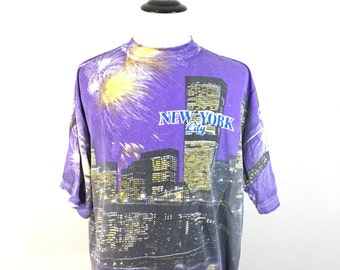 90's new york city all over print 100% cotton t-shirt size XL