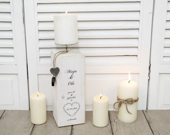 Personalized candlestick candlestick with the couple's name for the wedding