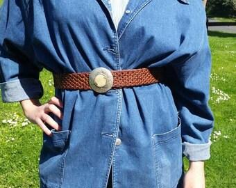 40% Leather belt braided leather belt vintage belt bohemian leather belt braided brown belt