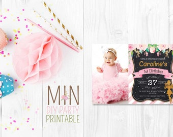 Pink Fairy Invitation,Fairy Birthday Invitation,Fairy Invitation,floral invitation,Fairy Garden invitation, fairytale invites