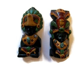 Vintage, Obsidian carved statues from Mexico, Mayan Aztec Figurines, Tribal Decor, Matching Bookends, bookends, obsidian stone carvings