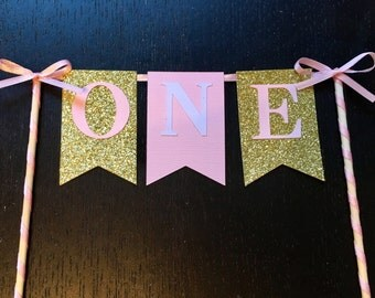 ONE Banner Cake Topper