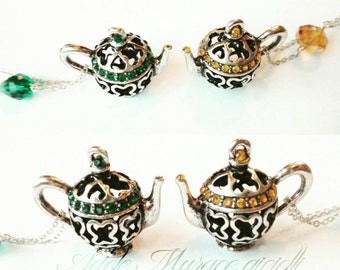 Teapot necklace crystals * Crystal teapot necklace