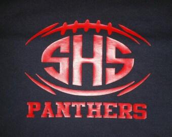 FOOTBALL, HIGH SCHOOL, School Colors, Custom, High School Initials, Split Football, Monogram Football T-Shirt