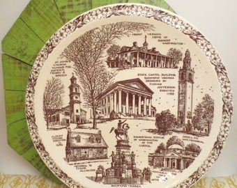 Historical Plate - Richmond Virginia Collector's Plate - Vintage Collector's Plate - Vernon Kilns - Brown Toile