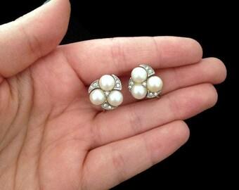 Bridal Earrings - Pearl Earrings - Clip on Earrings - Stud Earrings -Vintage - Antique Earrings - Old Earrings - Wedding Jewelry - Elegant