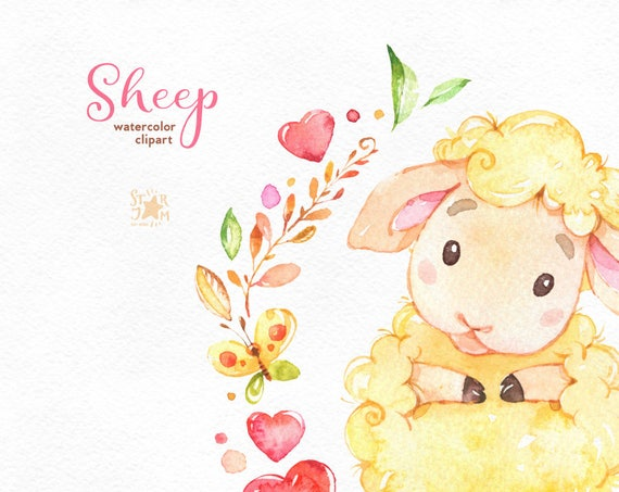 Sheep Watercolor Clip Art Characters Cute Heart