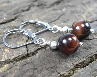 Earrings red Tiger eye small