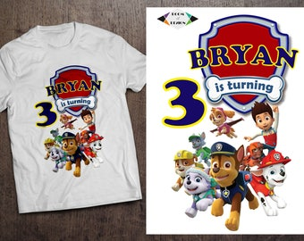 Paw Patrol Iron On Transfer. Diy Paw Patrol Birthday Shirt. Iron On Transfer. Paw Patrol Birthday Shirt. DIGITAL FILE.