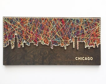 Chicago Skyline String Art - Chicago Art - Illinois Art