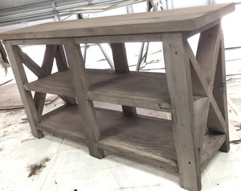 "48"" rustic x brace console table"