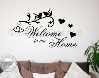 Family Wall Sticker Quote, Welcome To Our Home Wall Decal Sticker with Birds and Hearts