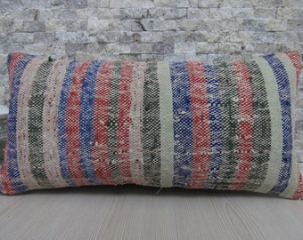 multicolored rustic pillow kilim pillow 12 x 24 naturel cotton boho decor Pillow turkish pillow handmade pillow home decor outdoor pillow