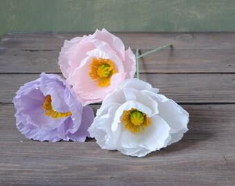 3 Poppies, bridal bouquet, bridesmaids bouquet, wedding bouquet, paper flower bouquet, wedding paper flowers, paper poppy