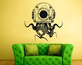 rvz2318 Wall Vinyl Decal Sticker Decals Jellyfish Octopus Ocean Fish Scuba Tentacles