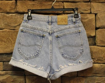 Vintage Lee Cutoff Shorts   High Waisted Jean Shorts  Women's Size 6   Stonewash